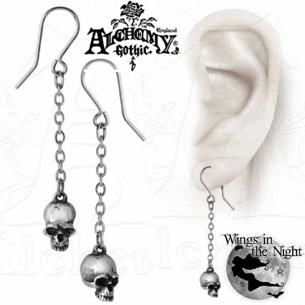 ALCHEMY GOTHIC Deadskull Gothic Pewter Earrings